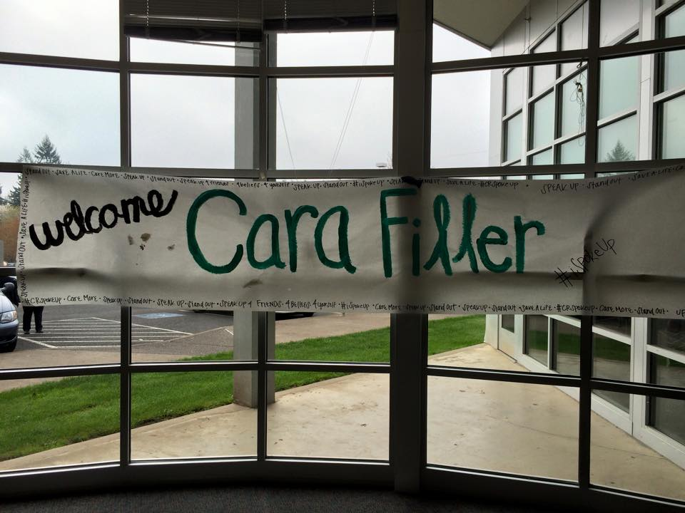 Welcome Cara Filler Sign